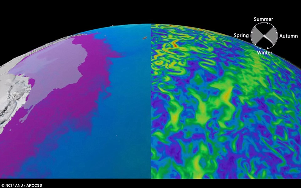 An Australian supercomputer has created a colourful visualization of Antarctica